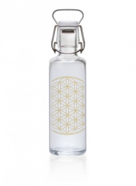 "Soulbottle drikkeflaske i glass, ""Flower of life"", 0.6"